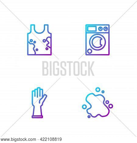 Set Line Water Spill, Rubber Gloves, Dirty T-shirt And Washer. Gradient Color Icons. Vector
