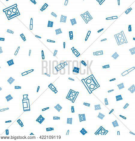 Set Line Spray Can For Hairspray, Eye Shadow Palette And Nail File On Seamless Pattern. Vector