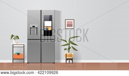Side By Side Refrigerator In Modern Kitchen Interior Home Appliance Concept Horizontal