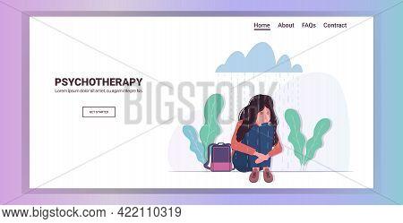 Upset Woman Sitting Under Rain Cloud Depression Problems Stress Psychotherapy Concept