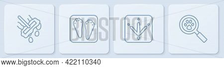 Set Line Mop, Chicken Paw Footprint, Rabbit And Hare And Paw Search. White Square Button. Vector