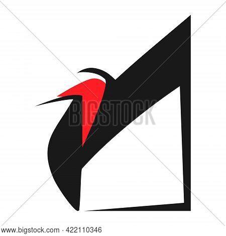 Red High Heel Shoe Symbol On White Backdrop. Design Element