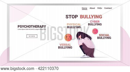 Upset Girl Holding Head Violence Social Anxiety Physical Bullying Psychotherapy Concept Horizontal