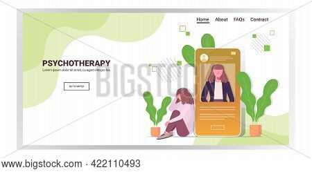 Woman Visited Online Psychologist In Smartphone Screen Female Psychotherapist Consulting Depressed P