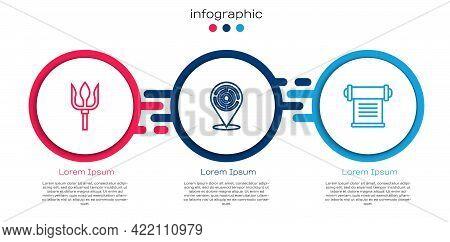 Set Line Neptune Trident, Minotaur Labyrinth And Decree, Parchment, Scroll. Business Infographic Tem