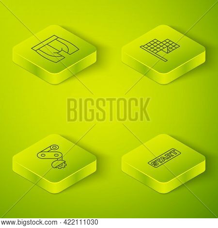 Set Isometric Line Checkered Flag, Derailleur Bicycle Rear, Ribbon In Finishing Line And Cycling Sho
