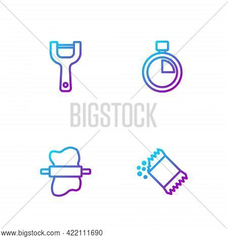 Set Line Packet Of Pepper, Rolling Pin On Dough, Vegetable Peeler And Stopwatch. Gradient Color Icon