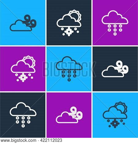 Set Line Windy Weather, Cloud With Rain And Snow And Sun Icon. Vector