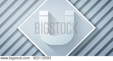 Paper Cut Magnet Icon Isolated On Grey Background. Horseshoe Magnet, Magnetism, Magnetize, Attractio
