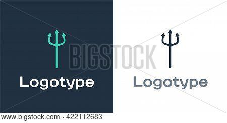 Logotype Neptune Trident Icon Isolated On White Background. Happy Halloween Party. Logo Design Templ