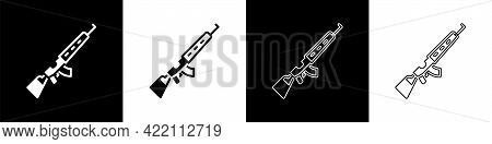 Set Sniper Rifle With Scope Icon Isolated On Black And White Background. Vector