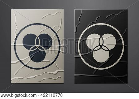 White Rgb And Cmyk Color Mixing Icon Isolated On Crumpled Paper Background. Paper Art Style. Vector