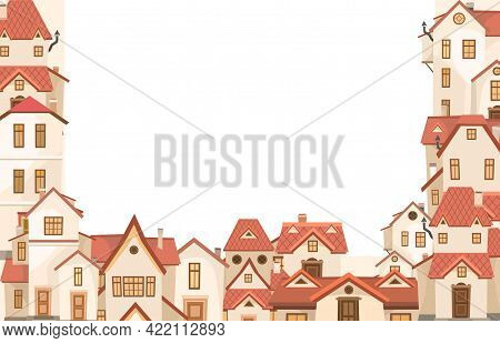 Cartoon Houses. Village Or Town. Frame. A Beautiful, Cozy Country House In A Traditional European St