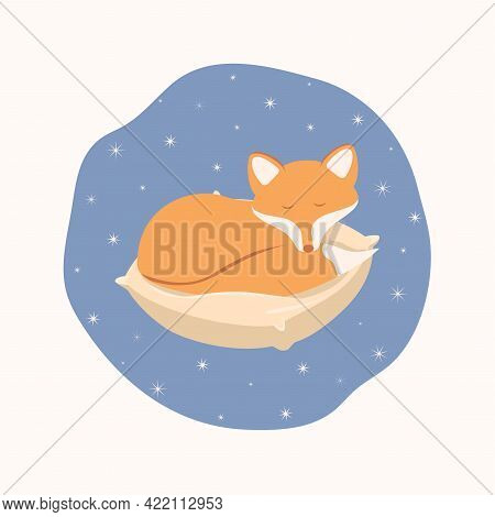 Red Fox On A Pillow. It's A Nice Children's Illustration. Figure. Night Print For A Postcard.