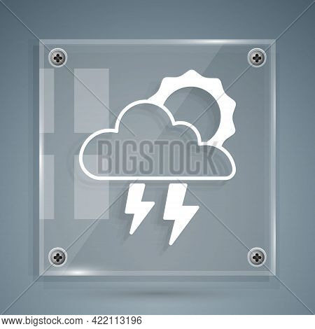White Storm Icon Isolated On Grey Background. Cloud With Lightning And Sun Sign. Weather Icon Of Sto