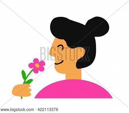 Young Woman Sniffs A Flower. Cartoon. Vector Illustration.