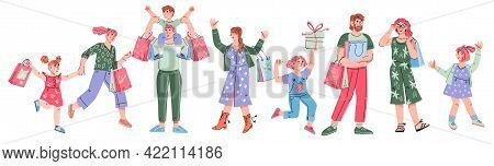 Happy Adults And Children Shopping. Big Discount, Purchasing Of Goods And Gifts Concept With Cartoon