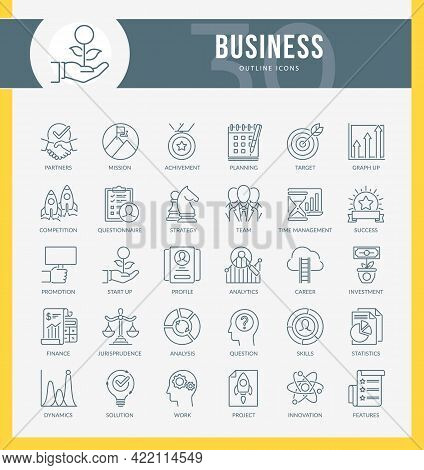 Set Of Outline Icons On Following Topic Marketing, Business, Management, Corporate Development And O