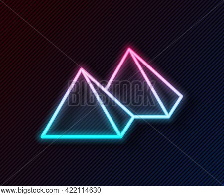 Glowing Neon Line Egypt Pyramids Icon Isolated On Black Background. Symbol Of Ancient Egypt. Vector