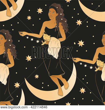 Celestial African American Woman With Moon And Cat Esoteric Golden Seamless Pattern. Boho Astronomy