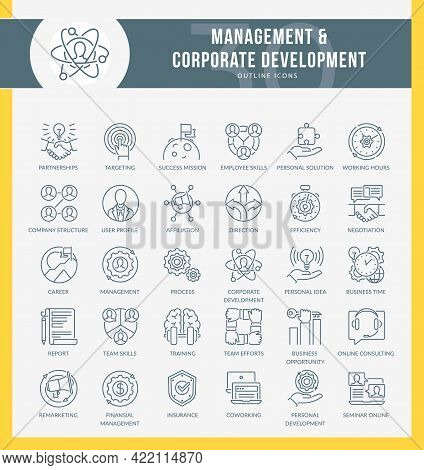 Set Of Filled Outline Icons On Following Topic Marketing, Business, Management, Corporate Developmen