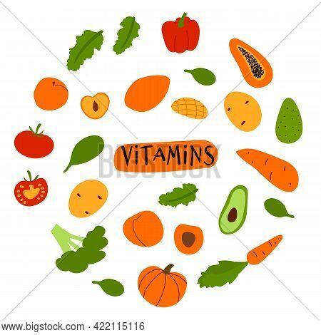 Doodle Colorful Fruits And Veggies Rich In Vitamin. Cartoon Circle Illustration Of Vegan Healthy Foo
