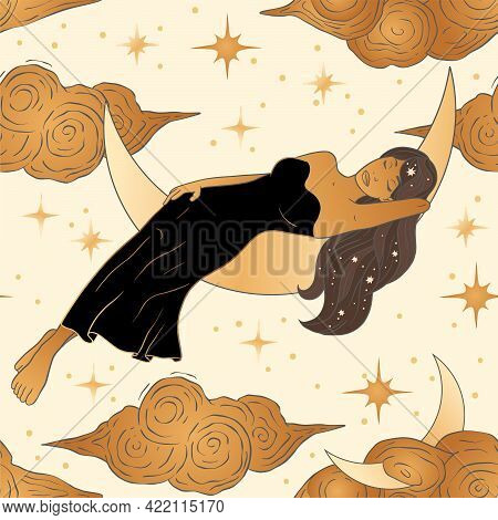 Celestial African American Woman And Moon Esoteric Golden Seamless Pattern. Boho Astronomy Astrology