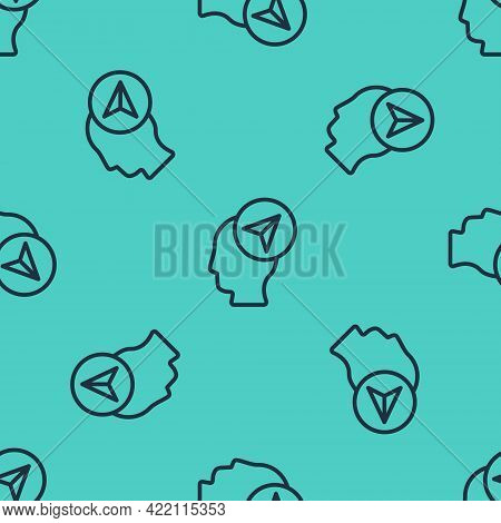 Black Line Map Marker With A Silhouette Of A Person Icon Isolated Seamless Pattern On Green Backgrou