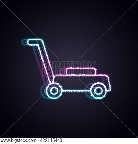Glowing Neon Line Lawn Mower Icon Isolated On Black Background. Lawn Mower Cutting Grass. Vector