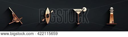 Set Sunbed, Kayak Or Canoe And Paddle, Martini Glass And Lighthouse Icon With Long Shadow. Vector