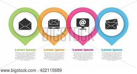 Set Envelope, Laptop With Envelope, Mail And E-mail On Speech Bubble And Envelope. Business Infograp