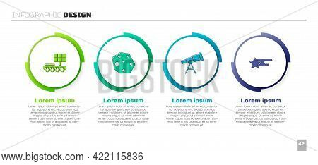 Set Mars Rover, Asteroid, Telescope And Falling Star. Business Infographic Template. Vector