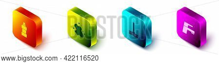 Set Isometric Bottle For Cleaning Agent, Water Spill, Handle Broom And Tap Icon. Vector