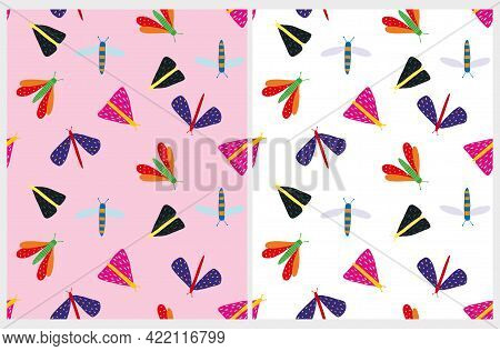 Cute Seamless Vector Pattern With Little Butterflies, Dragonflies And Moths Isolated On A White And