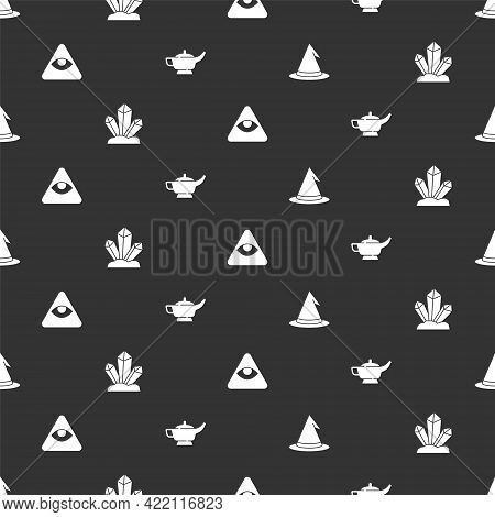 Set Witch Hat, Magic Stone, Masons And Lamp Or Aladdin On Seamless Pattern. Vector