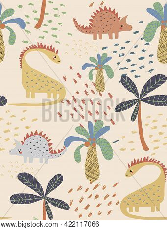 Cute Seamless Vector Pattern With Dreamy Dinosaurs, Spots And Coco Palms Isolated On A Cream Backgro