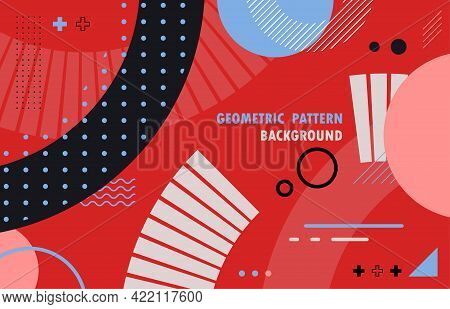 Abstract Geometric Modern Design Of Artwork Template Style. Overlapping 90s Style Pattern Minimal Ba
