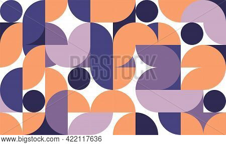 Abstract Retro Style Of Geometric Pattern Artwork Style Template. Circle Design Of Rounded Shapes Pa