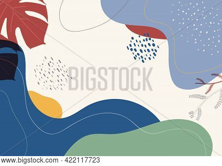 Abstract Design Modern Hand Drawing Template. Overlaping Design Of Minimal Retro Artwork Background.
