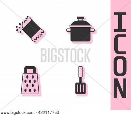 Set Barbecue Spatula, Packet Of Pepper, Grater And Cooking Pot Icon. Vector