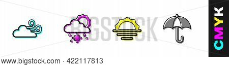 Set Windy Weather, Cloud With Snow And Sun, Sunrise And Umbrella Icon. Vector