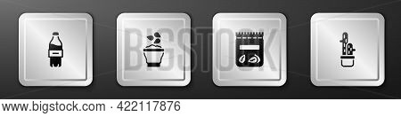 Set Bottle Of Water, Seeds In Bowl, Pack Full Seeds Plant And Cactus Peyote Pot Icon. Silver Square