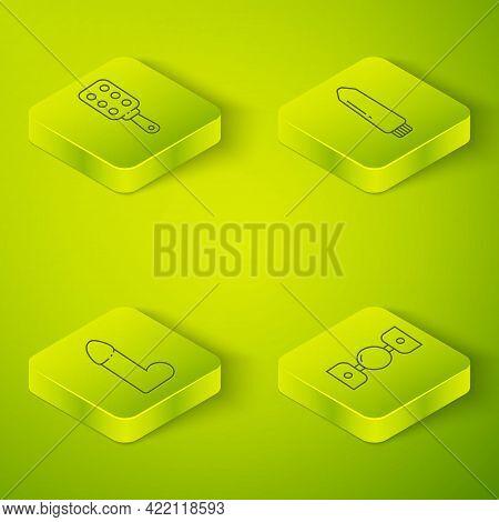 Set Isometric Dildo Vibrator, Dildo Vibrator, Silicone Ball Gag With Belt And Spanking Paddle Icon.
