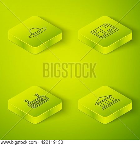 Set Isometric Passport With Visa Stamp, Signboard Text Hotel, Museum Building And Elegant Women Hat