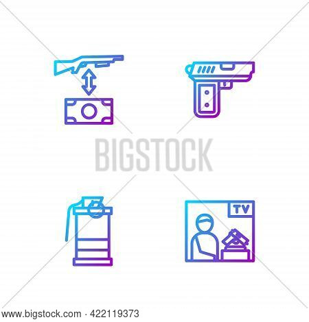 Set Line Advertising Weapon, Hand Smoke Grenade, Buying Assault Rifle And Pistol Or Gun. Gradient Co