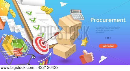 3d Isometric Flat Vector Conceptual Illustration Of Procurement, Process Of Finding And Agreeing To