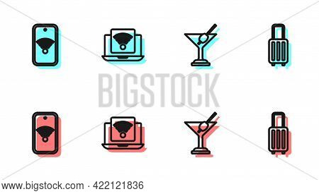 Set Line Martini Glass, Mobile With Wi-fi Wireless, Wireless Laptop And Suitcase Icon. Vector