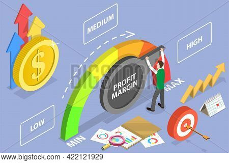 3d Isometric Flat Vector Conceptual Illustration Of Improving The Profit Margin, Financial Profitabi