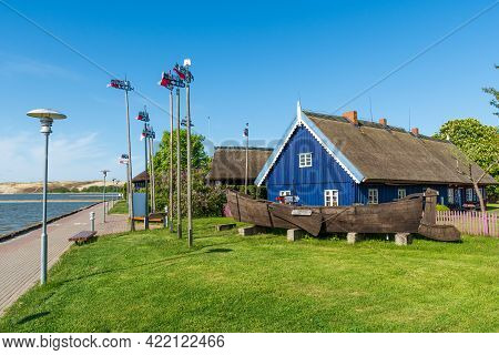Nida, Lithuania - May 23 2021: Fisherman\'s Museum. Beautiful Old Lithuanian Traditional Wooden Blue