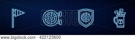 Set Line Golf Ball With Shield, Flag, Sport Club And Bag Clubs. Glowing Neon Icon On Brick Wall. Vec